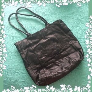 Chico's Black Leather Large Tote Bag
